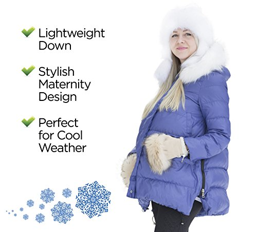 Maternity Blue Winter Jacket, Fashion Outerwear for Pregnant Women, Down Jacket will Keep the Belly Warm