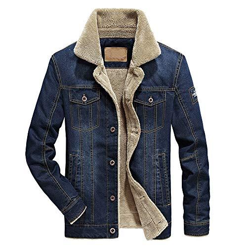 vermers Men Fashion Denim Jacket Clothes Clearance Fashion Men's Autumn Winter Pocket Button Flick Denim Jacket Coat(L, Dark Blue) (Mens Leather Jacket Striped)