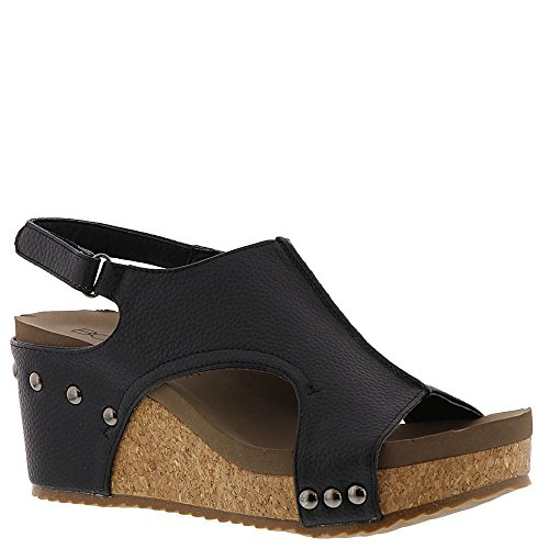 Corkys Women's London Wedge Sandal, Bronze (10 B(M) US, Black) (Corkys Shoes Women Sandals)