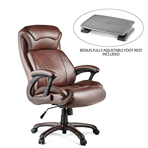Halter HAL-009 Executive Bonded Leather Office Chair Bundle with Fully Adjustable Foot Rest, Home & Office Computer Desk Chair, Supportive Memory Foam Cushion - Supports 500LBS