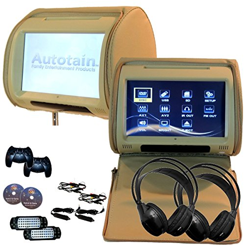 2x Autotain Dream 9 inch Digital Touch Screen Headrest DVD Player Monitor TAN BEIGE (Car Headrest Dvd Player Beige compare prices)