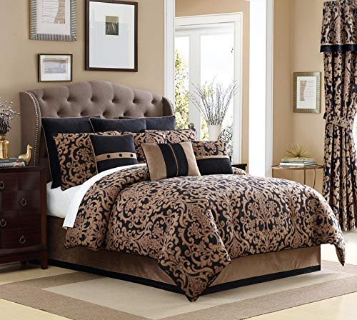 - Veratex Chambord 4 Piece, King Comforter Set, Black