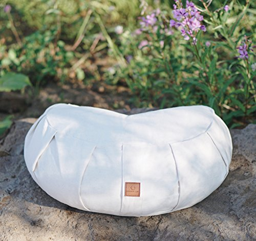Premium Zafu Yoga Meditation Pillow - Beautiful White Crescent Buckwheat Hull Filled Floor Pillow with 100% Organic Cotton Washable Cover & Carrying Handle…