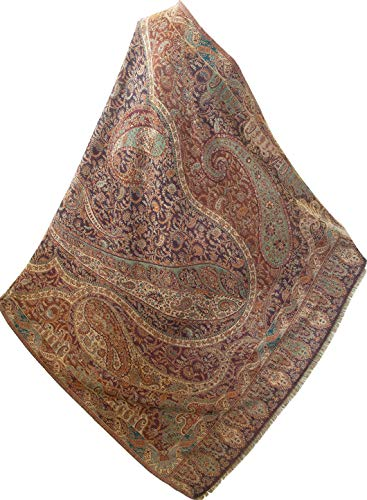 "Large Brown Kani Wool Shawl. 81"" X 42""Cream Wrap Paisely Flowers Vine Pashmina"