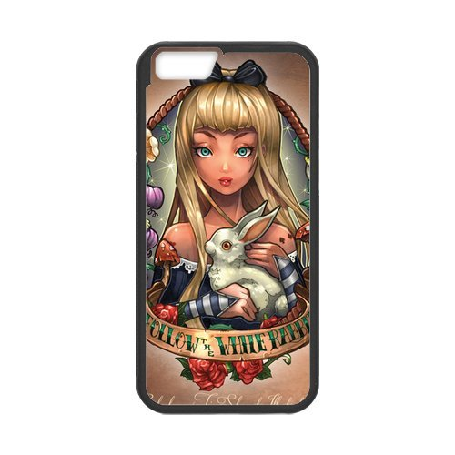 Fayruz- Personalized Protective Hard Textured Rubber Coated Cell Phone Case Cover Compatible with iPhone 6 & iPhone 6S - Alice in Wonderland Cheshire Cat F-i5G718
