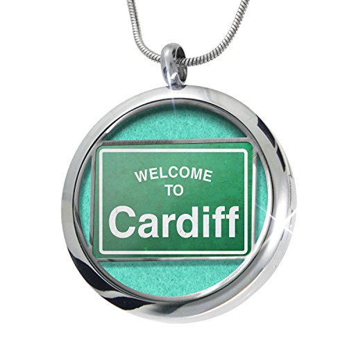 Cardiff Pendant (NEONBLOND Green Road Sign Welcome To Cardiff Aromatherapy Essential Oil Diffuser Necklace Locket Pendant Jewelry Set)