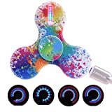 LEEHUR LED Fidget Spinner with Micro-USB Charger EDC Tri Hand Spinner Toy High Speed Stress and Anxiety Relief Toy Colorful