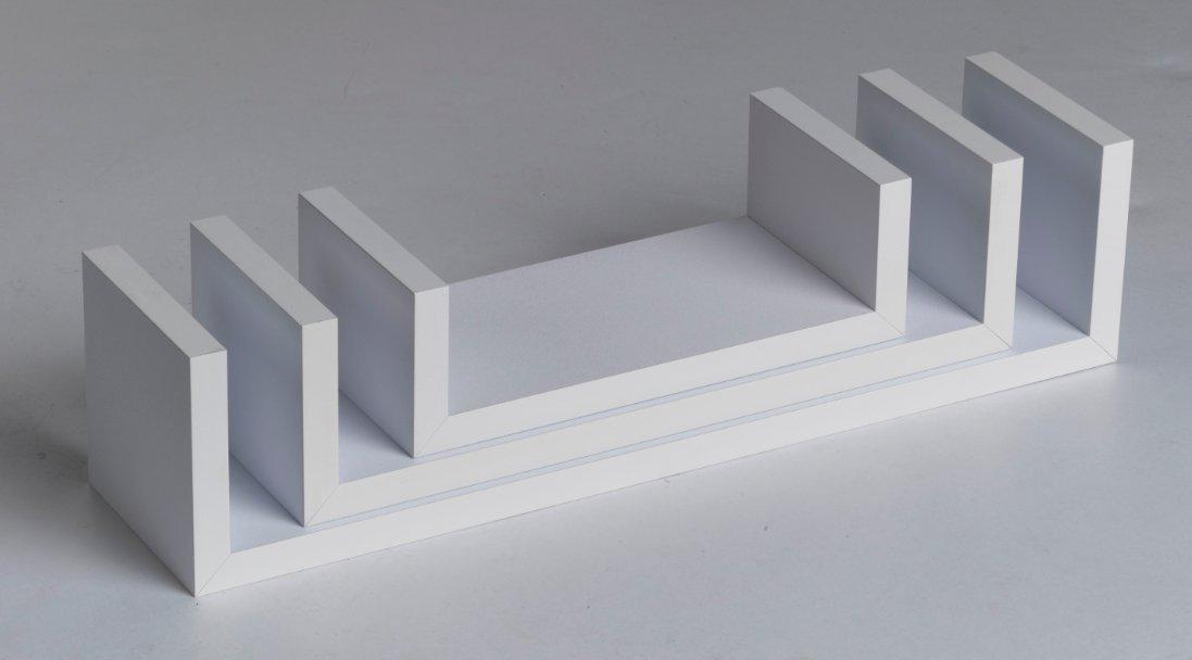 001 Harmony Shelf Set of 3 Floating Wall Shelves -White