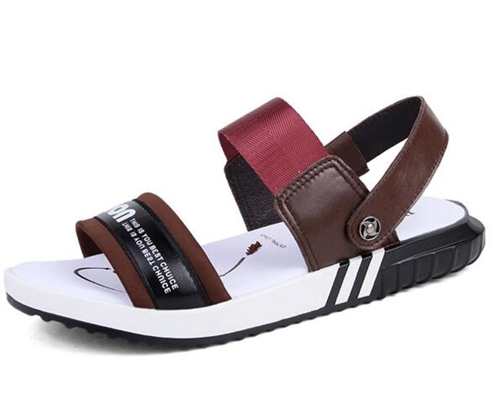 NSLXIE Männer Schuhe Erwachsene aus Echtem Leder Unisex Erwachsene Schuhe Sandalen Strand Sommer Offene Zehe Pull auf Slipper Atmungsaktive Folien Rutschfeste Flip Flops Größe 35 bis 45, schwarz, EU40 ROT-eu36 0ad42a