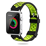 YiJYi For Apple Watch Band 38mm 42mm, Soft Silicone Sport Strap Replacement Wristband iWatch Bands for Apple Watch Series 3,Series 2,Series 1 (3.Green-Black, 42mm)