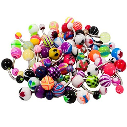 adecco-llc-50pc-colorful-belly-navel-ring-stainless-steel-bar-acrylic-barbell-ball