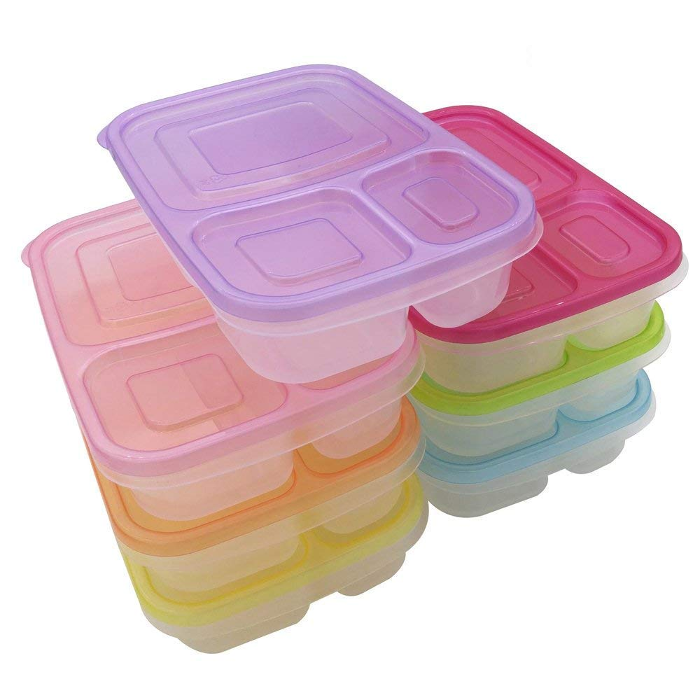 Bento Lunch Box,Vishm Leakproof 3 Compartment Reusable 7 Pack Plastic Lunch Box Containers for Kids & Adults - Easy BPA Free , Reusable Food Storage Containers Set | Microwave , Dishwasher and Freezer Safe