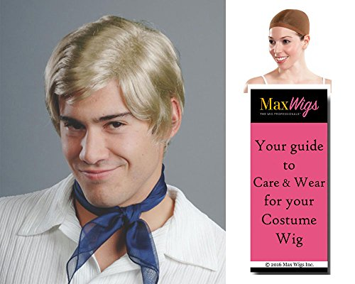 Freddie Mystery Color Blonde - Enigma Wigs Mens Jones Cartoon Prinze Bundle w/Cap, MaxWigs Costume Wig Care Guide ()