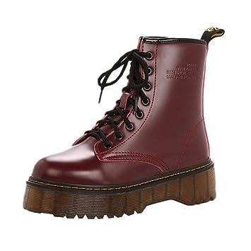 ZHRUI Mujeres Zapatos Retro Botas de algodón Botas de Lana Interior con Cordones Antideslizante talón Grueso