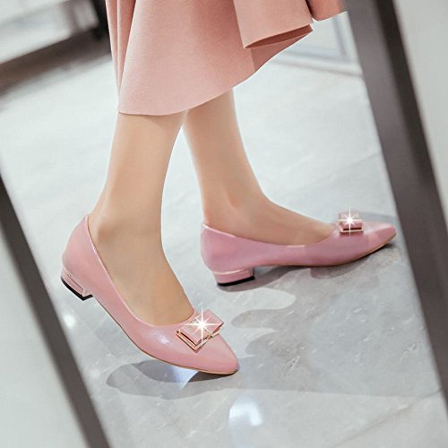 Show Glans Womens Fashion Söt Rosett Spetsig Tå Dagdrivare Skor Rosa