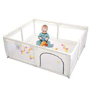 Taleco Gear Baby Playpen, Playpens for Babies, Playard with Gate for Infants Kids Safety Play Center Activity Yard Portable, Extra Large Playard for Toddlers, Anti-Fall Playpen Indoor and Outdoor