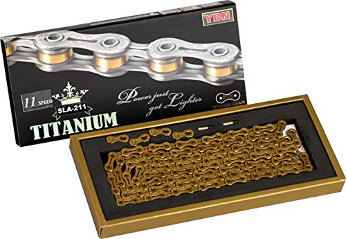 YBN Titanium 11-speed Chain 116 Links 5.5mm Wide with Two Reusable QRS Master