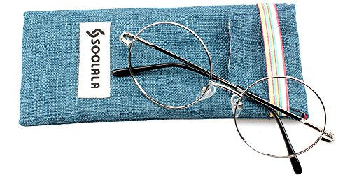 SOOLALA Cool Retro Round Metal Frame Spring Hinged Reading Glasses for men and Women, Silver, - Round Glasses Reading