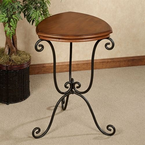 Wood Wrought Iron Triangle Accent Side Table Wooden Classic Scroll Home ()