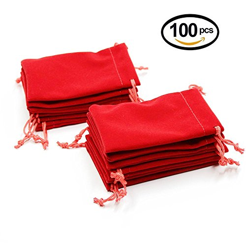 Wuligirl 100 PCS Red Velvet Bags 5x6'' with Drawstring Jewelry Pouches Bags Cloth Gaming Dice Fingertip Gyro Bags (100PCS Red, (Chips String)