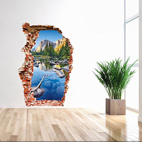3D Self-adhesive Removable Break Through the Wall Vinyl Wall Sticker/Mural Art Decals Decorator (3024 Mountain Valley( 23.6