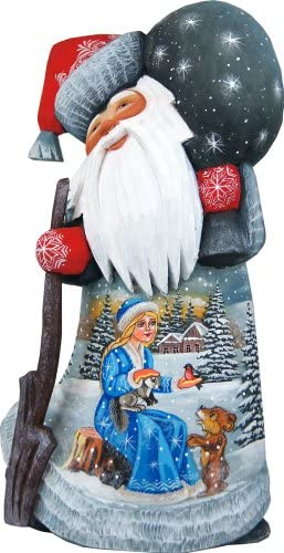 G. Debrekht Winter Story Hand-Painted Wood Carving