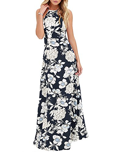 (Romacci Women's Sleeveless Halter Neck Maxi Dress Vintage Floral Print Backless Beach Long Dresses S-5XL,Blue/Black)