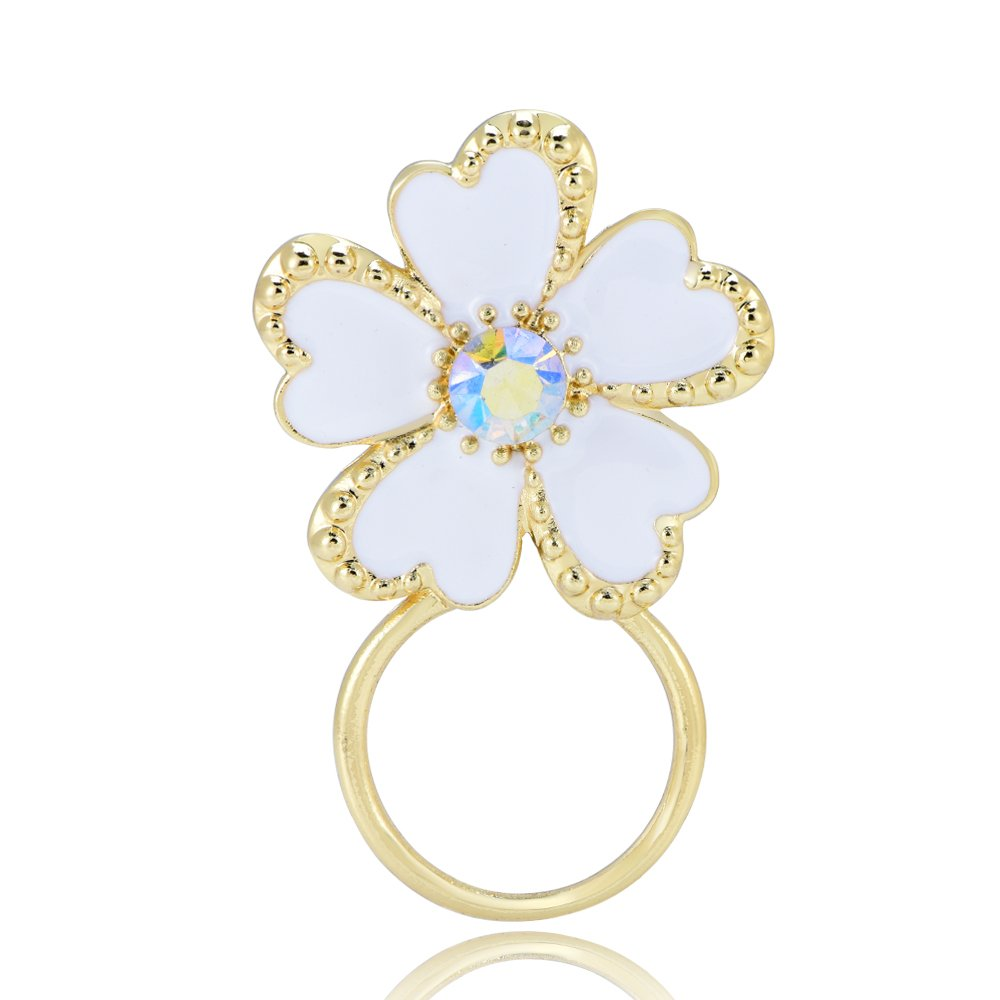 BEICHUANG Pretty White Enamel Five Petals Crystal Flower Eyeglass Holder Women girls Brooch Pin (gold)
