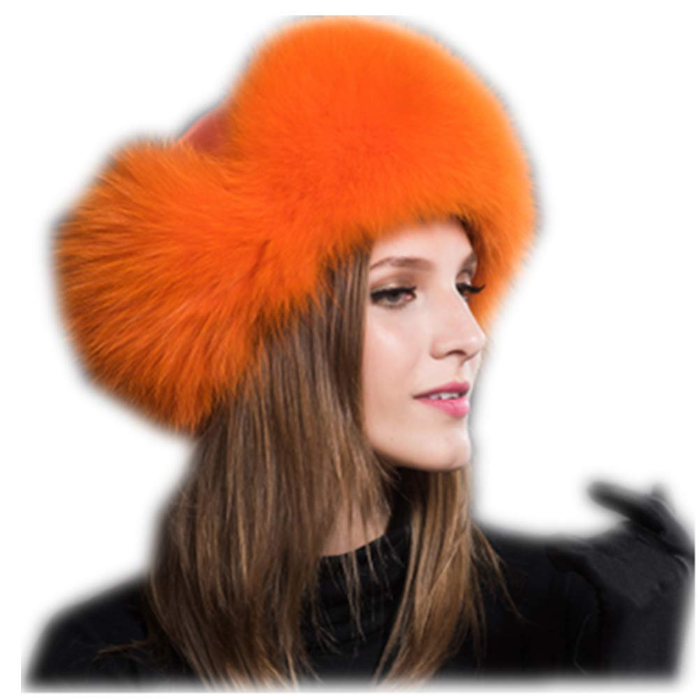 MH Bailment Womens Winter Hat Genuine Fox Fur Russian Hats Lei Feng hat (One Size, Orange) by MH Bailment