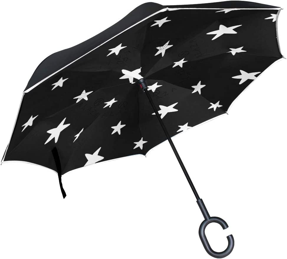 Seamless Pattern With Stars Double Layer Windproof UV Protection Reverse Umbrella With C-Shaped Handle Upside-Down Inverted Umbrella For Car Rain Outdoor
