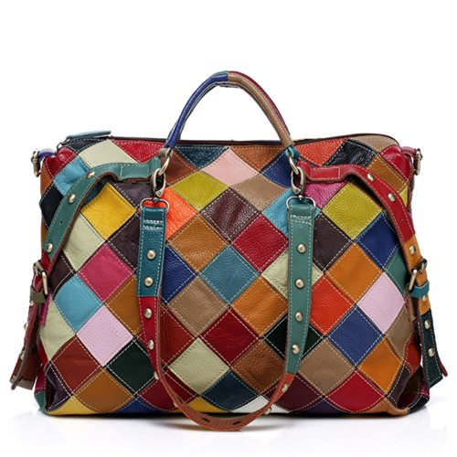 Women Plaid Studded Spliced Leather Cowskin Full Bag Multi Genuine Grain Oneworld Fashion Shoulder New Handbag nwCHPxqCTR