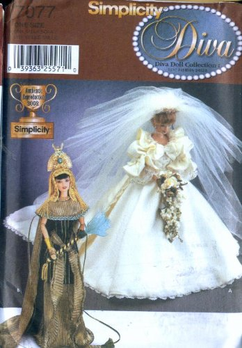 Princess Diana Wedding Dress Costume (Simplicity 7077 - 11.5-inch Fashion Dolls Clothes - Diana's Wedding Dress, Cleopatra's Costumes (Diva Doll Collections I))