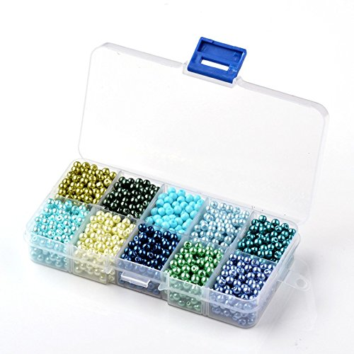 Beads Direct USA Glass Pearls Mix Tiny Round Pearlized Beads + Plastic Jewelry Container Box Assorted Mix (6mm, 600pcs, Mermaid) (Mermaid Container compare prices)