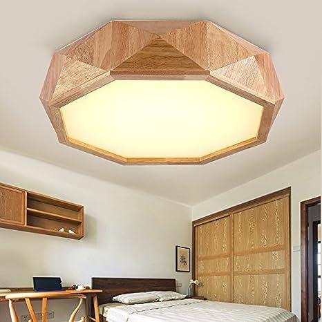 JJ moderno LED lámpara de techo de madera maciza de madera ...