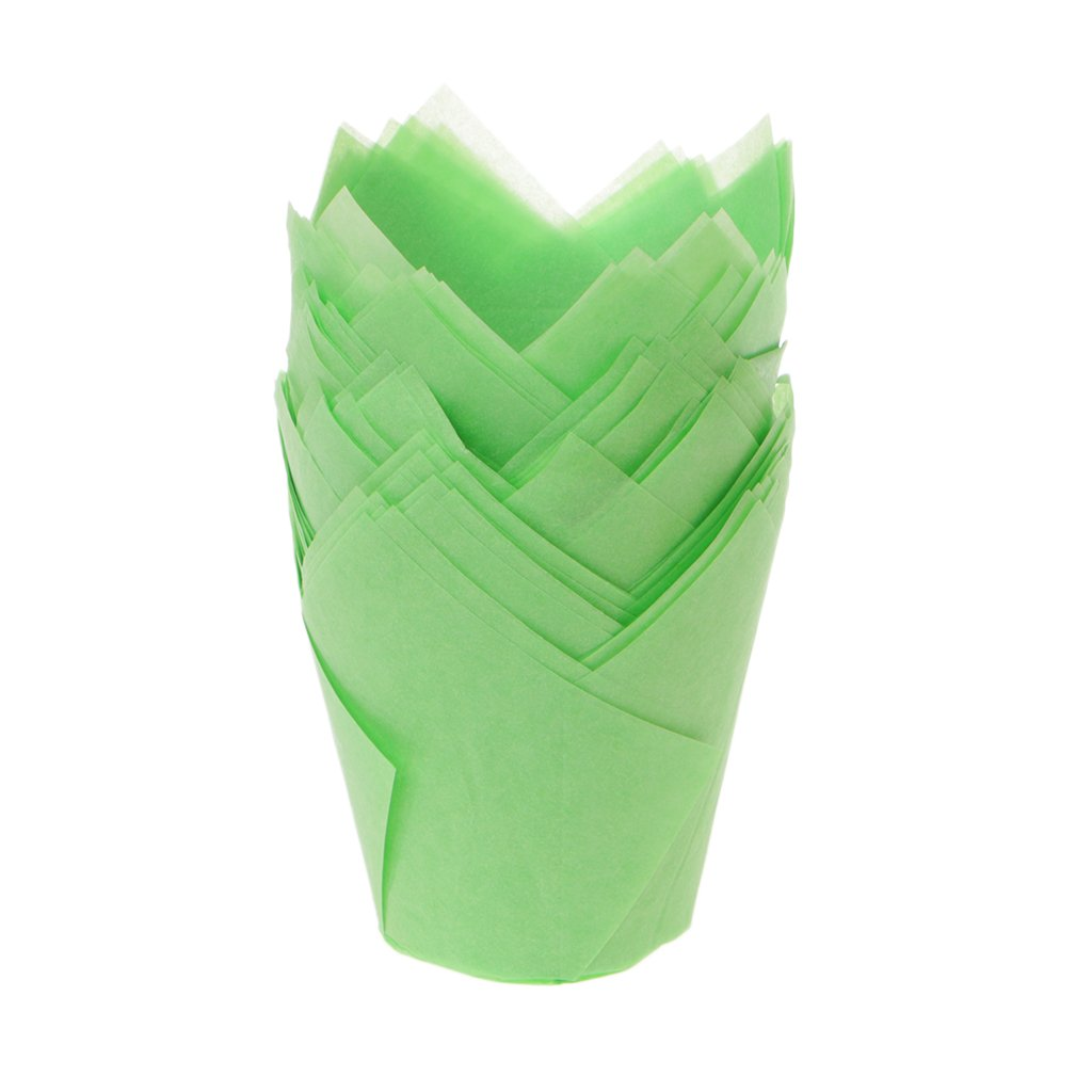 50pcs/lot Solid Wrapper Liners Cup Muffin Tulip Case Cake Paper Baking Cupcake