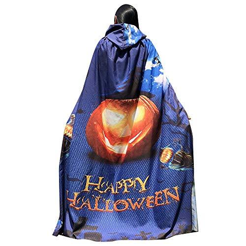 DEATU Halloween Costume, Novelty Pumpkin Print Cape Scarf Halloween Poncho Shawl/Costume Accessory (a-Blue)