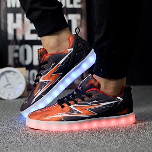 Mens Donna Led Light Up Lightning Shoes Sportswear Sneaker Luminose Scarpe Casual 1615 Nere