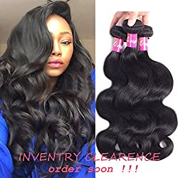10A Brazilian Body Wave 3 Bundles Virgin Hair 100% Unprocessed Human Hair Remy Hair Bundles Body Wave Brazilian Hair Natural Color 300g By Originea (12'' 14'' 16''weft only)