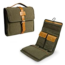 Lavievert Travel Men's Toiletry Roll / Folding Portable Canvas & Genuine Leather Toiletry Bag / Storage Bag with Hook for Travel / Vacation / Household Use