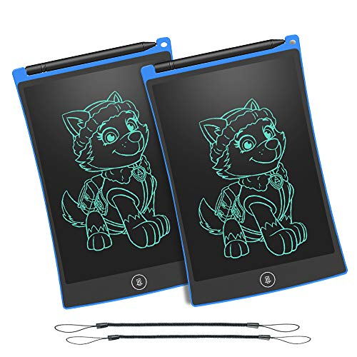 WOBEECO Set of Two 8.5 Inch LCD Writing Tablet Children Doodle Pad Scribble Toy Family Message Board with 2 Lanyards in Place of Scrap Paper and More ()