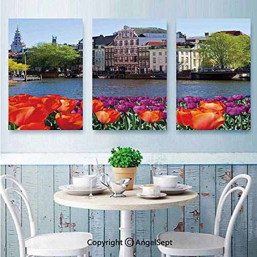 AngelSept Canvas Prints Wall Art,European City Holland Amsterdam Scenery of Old Victorian Era Houses Art Print,for Home Decor,24