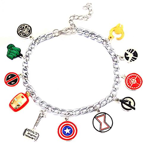 Marvel Avengers Gifts Thor Deadpool Bracelet - Captain America Jewelry for (Captain Marvel Costume Pattern)