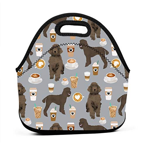 Brown Poodles And Coffees Fabric Cute Dog Fabric - Grey_939 Portable Lunch Containers, Work Lunches bag, Picnic, Travel, BBQs, Camping, - Coffee Chloe