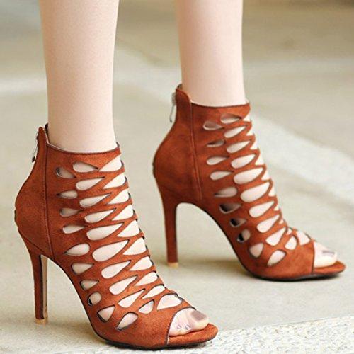 YE Damen Gladiator Sandalen Knöchelriemchen High Heels Pumps mit Reißverschluss 10cm Elegant Sommer Schuhe Braun