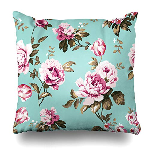Ahawoso Throw Pillow Cover Ephemeral Blue Botanical Shabby Chic Vintage Roses Tulips Me Forgetmenots Pink Chintz French Pattern Decorative Cushion Case Square 18