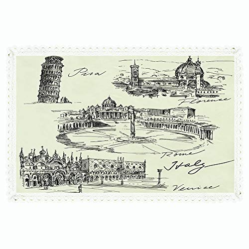 """iPrint Sketchy,Rectangle Polyester Linen Tablecloth/Travel The World Themed Historical Italian Landmarks Venice Rome Florence Pisa Decorative/for Dinner Kitchen Home Décor,55""""x72"""",Black Cream"""