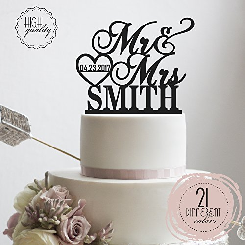 Bride Cake (Personalized Wedding Cake Topper Mr Mrs Heart Customized Wedding Date And Last Name To Be Bride & Groom | Solid Color Cake Toppers)