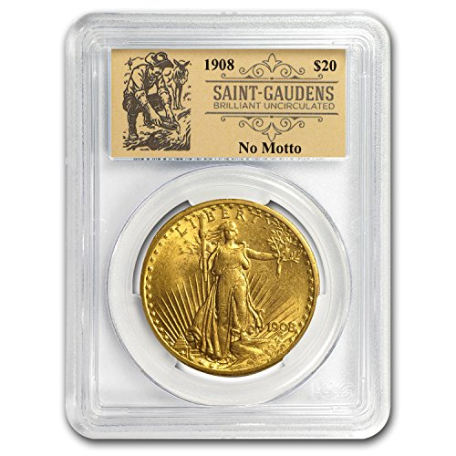 - 1908 $20 St Gaudens Dbl Eagle No Motto BU PCGS (Prospector Label) G$20 Brilliant Uncirculated PCGS