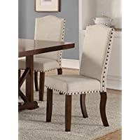 Set of 2 Cream 18 Seat Height Dining Chairs with Padded Seating