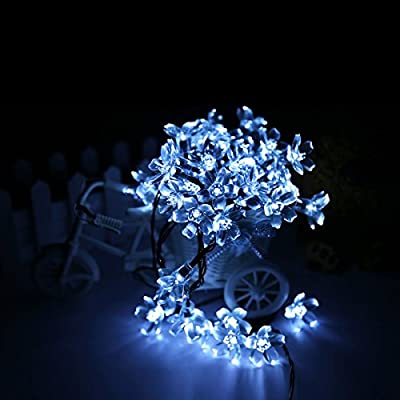 ADDLON Solar LED String lights (10-clip included) decorative lighting,23ft(7m) 50 LED 8work Modes,Blossom Ambiance lighting for Outdoor, Garden, Home, Wedding, Christmas party, Waterproof (Ice White)